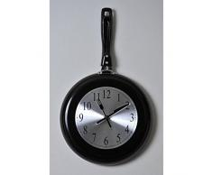 Kitchen reloj de pared 43 x 26 cm negro sartén y gris