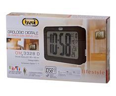 Trevi 3328 - Reloj digital de pared con calendario y temperatura, pantalla LCD extra grande (23 x 3 x 14.5 cm) color blanco