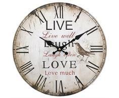 Reloj de pared en vivo rústica de época amor de la risa de la cocina elegante lamentable del estilo retro del pájaro (Live Laugh Love)