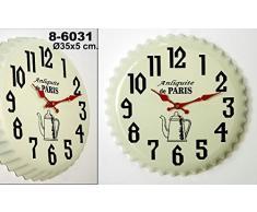 DonRegaloWeb - Reloj de cocina - Reloj de pared de metal y melamina en color blanco, negro y rojo decorado sobre un molde de tarta.