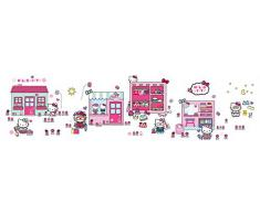 Hello Kitty Pegatina para pared, diseño de Tell a Story with Me, color rosa