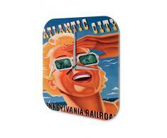 Reloj De Pared Gira Mundial Marke Atlantic City Pennsylvania Flyway mujer rubia de gafas de sol Plexiglas Imprimido 25x25 cm