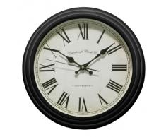 Premier Housewares Traditional - Reloj de pared redondo (números romanos), color negro