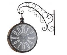 elbmöbel – Reloj de pared metal marrón Vintage Retro Reloj Reloj de Estación de Tren Diseño Vintage Envejecido.