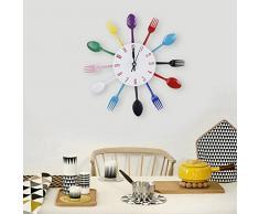 Moderna Cuchara De Aluminio Exclusivo Reloj Tenedor Reloj De Pared De La Cocina Cubiertos Colorido