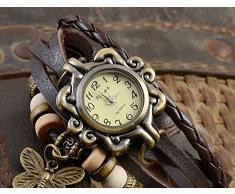 Doitsa Reloj de Pulsera Moda Retro elegante colgante de la mariposa Reloj de Pulsera Cuarzo Reloj para Mujeres café