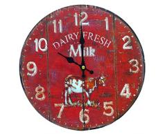 Better & Best 2671100 - Reloj de pared con diseño Dairy Fresh Milk con dibujo de vaca, color rojo