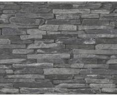 A.S. Creation 914224 Wood n Stone - Papel pintado imitación piedra natural, color gris y negro