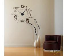 Vinilo de pared: Decoración de pared con reloj número internacional Para el salón la oficina (reloj=Negro//Color=070 Negro)