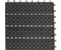 EVERFLOOR WPC marca Gartenfreude (= madera / mezcla de plástico) baldosas de patio perfil macizo gris oscuro, 6 piezas, 40 x 40 cm (aprox. 0,96m2)
