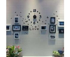 reloj de pared - TOOGOO(R)negro reloj de pared adhesivo£¬DIY auto-adhesivo numero puntos digitales Reloj de pared
