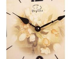 17 pulgadas Tamaño Grande Retro Vintage Europea Estilo Reloj de pared con péndulo Non-ticking Silent decorativo pared relojes dyd-66150