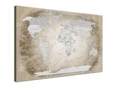 LanaKK® - mapamundi beige con corcho - versión Inglés, reproducción artística sobre lienzo premium en bastidor, tablón de notas para los trojoamundos, tamaño con bastidor tensado 150 x 100 cm, en tres secciones