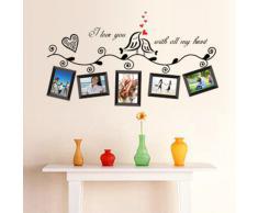 Anself Pegatina de pared de Pájaros del amor de marco de fotos para la decoración de pared