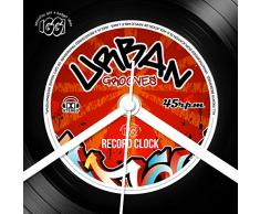 IGGI GH-30516 Record Collection - Reloj de pared, diseño de disco de vinilo LP con texto Urban Grooves