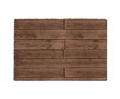 Regenerado Artificial madera patrón alfombrilla de puerta – interior al aire libre neopreno y lavable a máquina, marrón, Small Door Mat