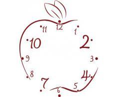 Vinilo de pared: Decoración de pared con reloj manzana Para la cocina (reloj=Plata cepillada//Color=030 Rojo oscuro)