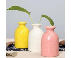 JUNGEN Creative macetas floreros cerámica macetas hidropónicos envases decoración casera simple (Amarillo)