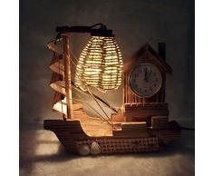 GAG-Lámparas de escritorio@Creativo de San Valentín decoración regalos de artículos de Boutique, velero artesanal madera con lámpara de escritorio reloj luz Led