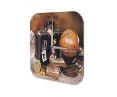 Pared Reloj De Pared Aventurero DecoraciÛn Marke Mundial maleta mundo viajan Plexiglas Imprimido 25x25 cm