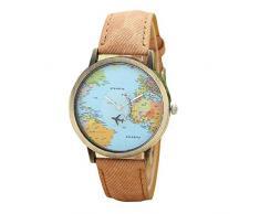 KanLin Mujer Reloj de Casual, banda de tela de denim, Global Fly mapa marcar (Café)