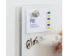 Smart Glass Board ® Pizarra de cristal magnética / Tablero de notas magnético en vidrio + 2 Imanes SuperDym, 48 x 48 cm, Blanco, UltraClear ® Glass