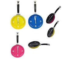 Reloj de pared de cocina en Sartenes Design reloj Reloj de bandeja Reloj de cocina reloj Reloj de pared de cocina - delant. rosa detrás negro