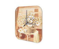 Reloj De Pared Gira Mundial Marke Pintura ramo de manzanilla Plexiglas Imprimido 25x25 cm