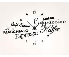 """I-love-adhesivo de 11528 de pared-reloj de pared de la cocina de café """"especialidades de café"""", Schwarz / Uhr Silber, 100 x 55cm - Umlauf ca. 44cm"""