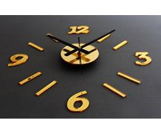 FEITONG Espejo DIY del reloj de pared 3D de superficies Reloj pegatina Home Office Decor (Gold)