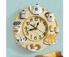 Creative Light- 8 pulgadas (21 cm) de resina sala de estar de moda creativa personalidad de la moda Relojes de arte europeos pastorales reloj de pared de la cocina Silencio