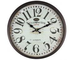 Perla PD Reloj de pared, Metal, con cristal, vintage, diseño Westminster, color marrón y negro, lacado, aprox. 30 cm de diámetro