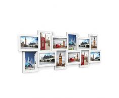 SONGMICS Marco de Fotos Collage para 12 Fotos de 10 x 15 cm, Hecho de Tableros MDF, Montaje en Pared, para Galería de Fotos, Requiere Ensamblaje, Blanco RPF22W