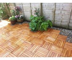 Click-Deck - Láminas de suelo de madera noble (72 unidades), ideal para patios, jardines, balcones y jacuzzis, 30 x 30 cm