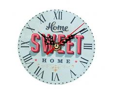 Reloj de Pared de Madera Retro, Holacha Reloj de Silencio Redondo Decoración Hogareña (A)