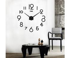 FEITONG Reloj de pared de la sala de estar DIY 3D La decoración del hogar del diseño del arte del espejo grande (Negro)