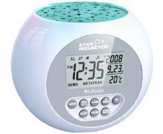 Lifemax 384.1S - Reloj despertador con proyección de estrellas, color plateado