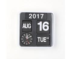 Diseño con texto en Fartech Retro 24 cm modo de brillantes con tapa escritorio reloj de pared (blanco)
