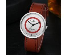 Relojes deportivos, KanLin1986 hombres de moda cuero analógico cuarzo reloj de pulsera (café)