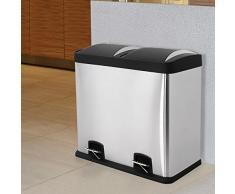 Songmics (disponible en varias medidas) Cubo de basura de acero inoxidable Basurero reciclaje Dos compartimientos Con penal LTB (LTB48L)