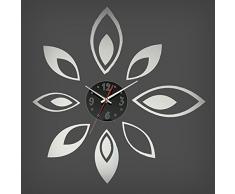Bluelover Moda flor pegatinas decoración DIY espejo reloj de pared adhesivo-plata