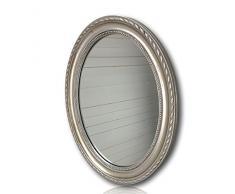 elbmöbel - Espejo de pared, ovalado, madera, Plateado, 37 x 47cm