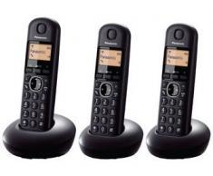 Panasonic KX-TGB213SPB - Teléfono fijo digital (DECT Trío, función alarma/despertador, 6 melodías de timbre, Identificación de llamada entrante), negro