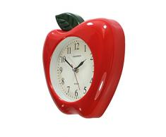 Reloj de pared 3D, movimiento de cuarzo, diseño de manzana, color rojo