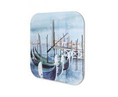 Reloj De Pared Gira Mundial Marke Venecia GÛndola Pintura Plexiglas Imprimido 25x25 cm