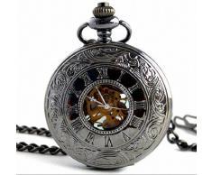 Infinite U Retro Alta Calidad Esqueleto Movimiento Acero Reloj de bolsillo Mecánico Grande Collar Negro