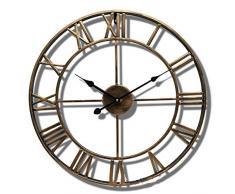 XJM Reloj De Pared De Metal Grande Vintage, Reloj De Pared Retro Vintage/Jardín Antiguo Números Romanos Reloj De Metal Abierto Home Hotel Bar. (Bronze,60CM)