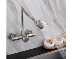 HomeLava Grifo de cocina Grifo de pared giratorio de acero inoxidable de 360 ° grifo de agua fría y caliente, fregadero de cocina, lavavajillas, grifo para gabinete de lavandería