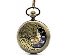 Infinite U Alas de Águila/Angel/Phoenix Hueco Esqueleto Acero Reloj de bolsillo mecánico Bronce