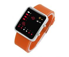 Reloj - SODIAL(R)Unisex De mujer Reloj Hombre Silicona Digital Rojo LED Deportivo Binario pulsera Color Del Articulo:Naranja